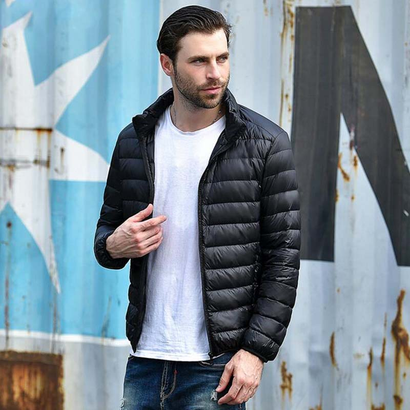 ENWAYEL Autumn Winter Lightweight Thin 90% White Duck Down Jacket Men Casual