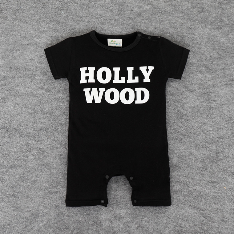 016 unisex baby clothes wholesale baby Romper climbing clothing coveralls alphabetical HOLLY WODD clothes baby clothes set