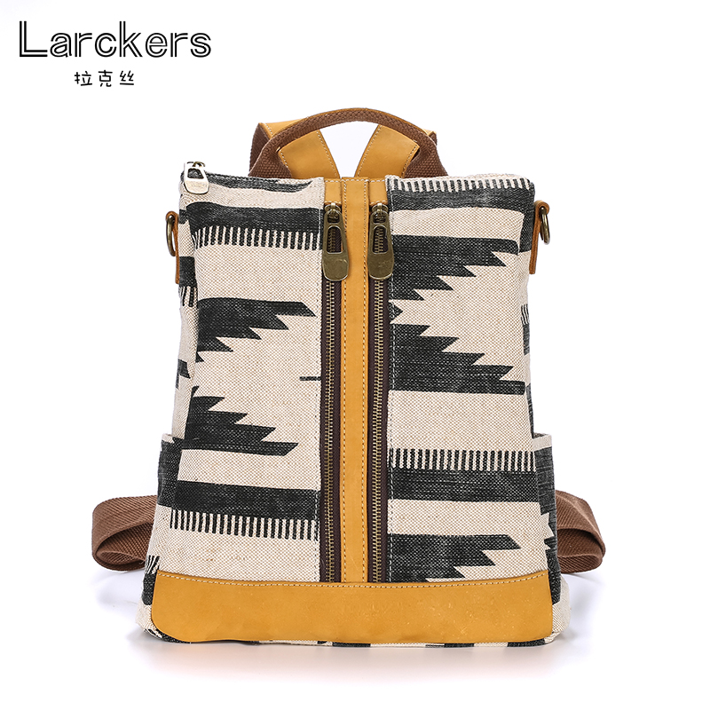 2017 larcker personality fashion canvas women backpack can single shoulder bag geometric pattern fresh girls canvas backpacks