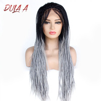 Dula A Synthetic Lace Front Wigs Handmade 24'' Braids Wigs With Baby Hair Grey Dark Roots Ombre Color Wigs For Black Women