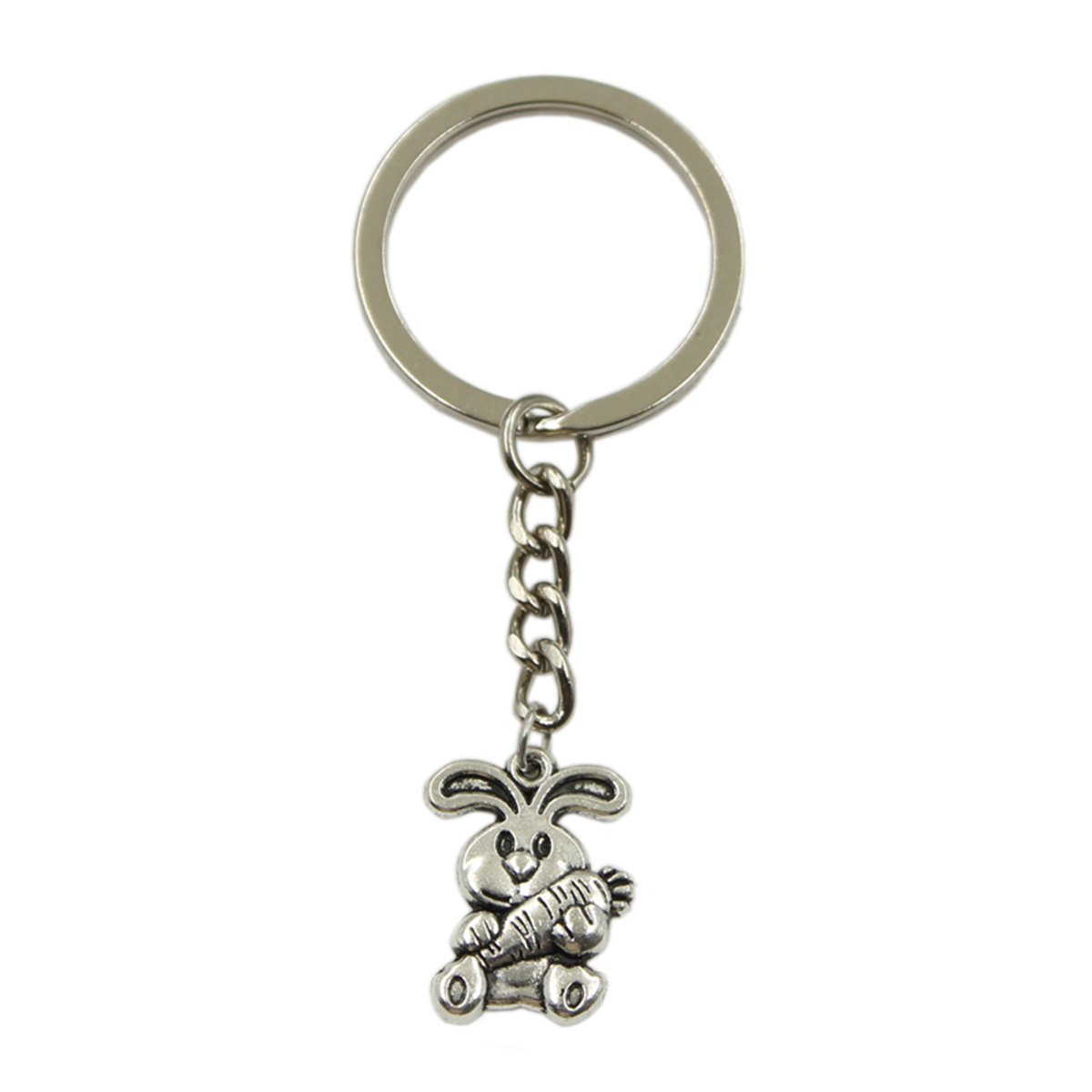 Factory Price Rabbit Bunny Carrot Easter Pendant Key Ring Metal Chain Silver Color Men Car Gift Souvenirs Keychain Dropshipping