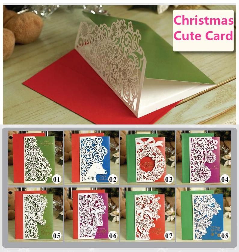 8pcs Merry Christmas Card Vintage laser cut paper handmade greeting ...