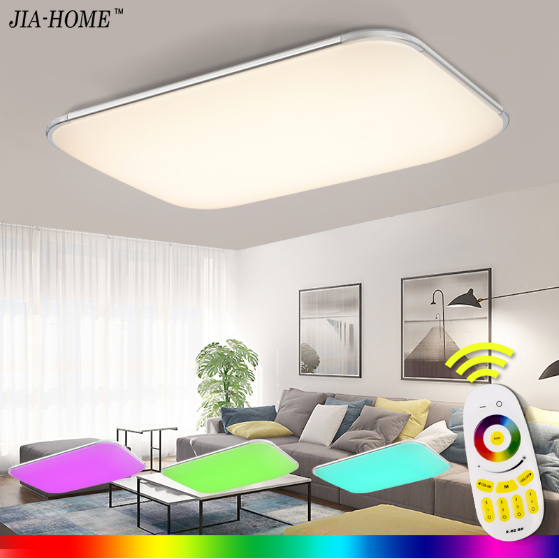NEW Modern LED Ceiling Light With 2.4G RF Remote Group Controlled Dimmable Color Changing Lamp For Livingroom Bedroom AC90-265v wf820 e27 smart phone led wi fi controlled sunrise wake up multicolored color changing disco light sleeping dimmable