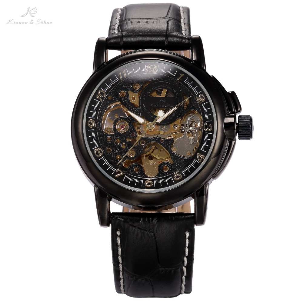 Classic Vintage KS Real Leather Strap Skeleton Black Dial Dress Mens Automatic Wrap Wrist Mechanical Watch Relogio /KS036