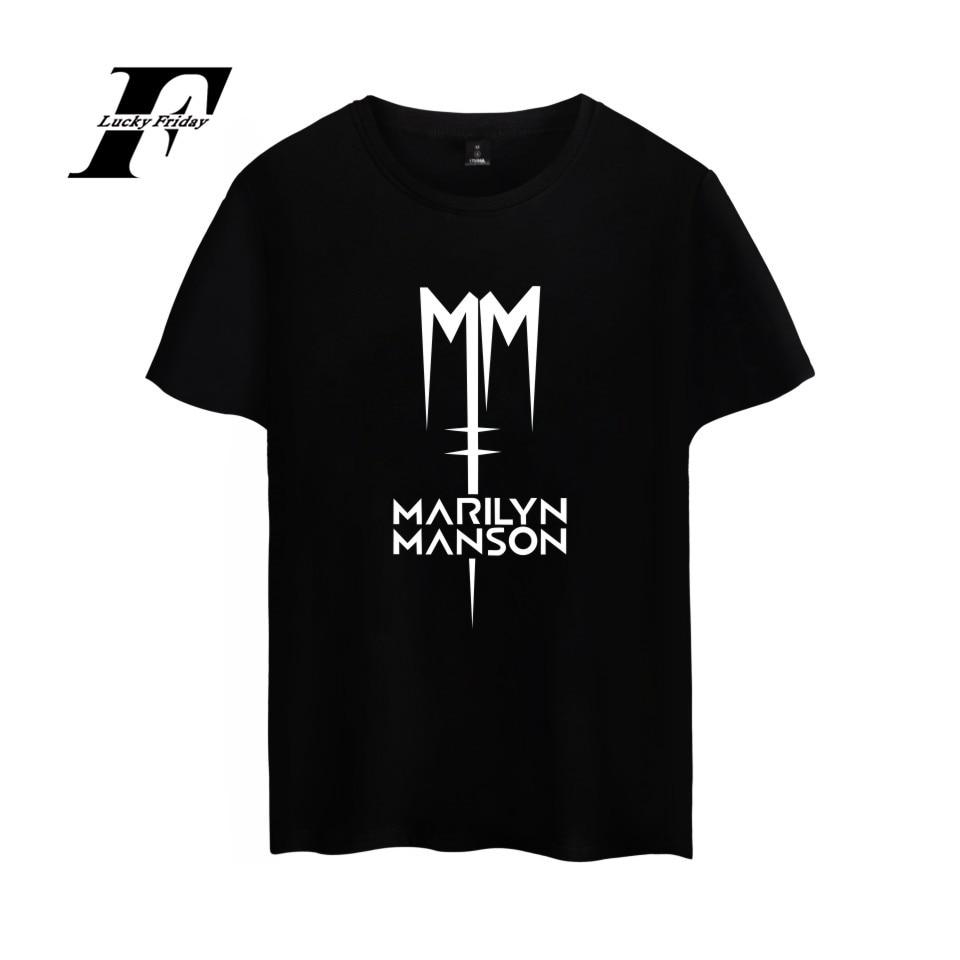 Top Rock Band Marilyn Manson Cotton  T-shirt Tee SHIRT Industrial Metal Rock Band T Shirt Short Sleeve Sleeve Men Women Hip Hop
