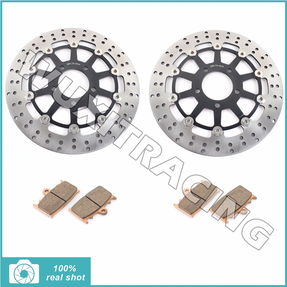 Pair Motorcycle Front Brake Discs Rotors Pads for SUZUKI GSXR 600 750 GSXR600 GSXR750 1997 1998 1999 2000 2001 2002 2003 97-03 full set front rear brake discs disks rotors pads for suzuki gsxr 750 94 95 gsx r 1100 p r s t 1993 1994 1995 1996