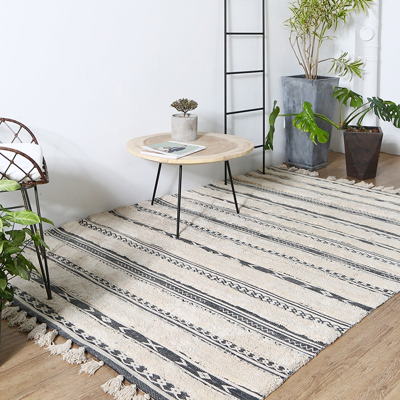 European style thicken cotton handmade bedside carpet living room coffee table carpet big size Nordic decoration