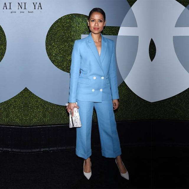 New womens business suits light sky blue double breasted elegant ladies trouser suits slim fit office uniform women's tuxedo