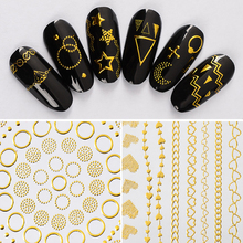 Metal 3D Nail Sticker 3d Metallic Decals Adhesive Moon Star Gold Stripes Wave Line Manicure DIY Decorations for Art