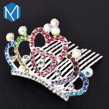 Girl Rhinestones Hair Clips Colorful Princess Crown Women's Wedding Diadems Hair Accessories Pins Bridesmaid Tiara For Party(China)