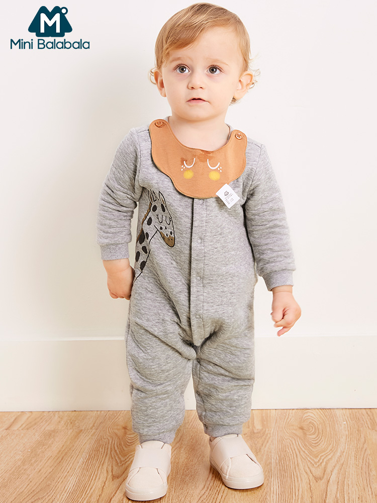 Mini Balabala Baby Giraffe Graphic Jumpsuit Newborn Infant Baby Boys Girls Soft Cotton Printed   Romper   One-Piece Clothes Clothing