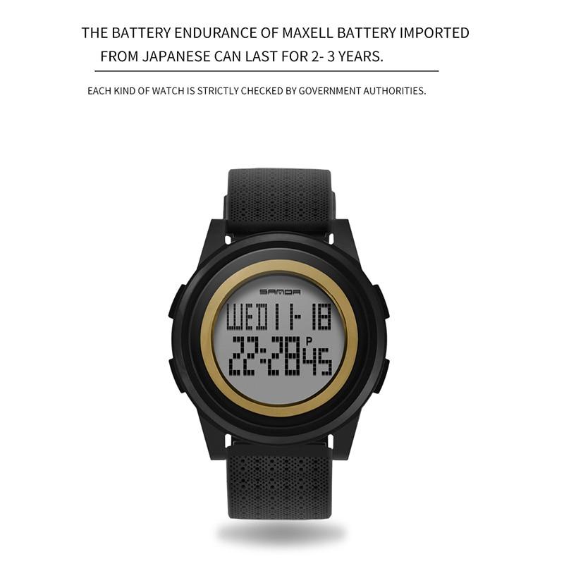 2018 Sanda Brand Sport Watch Men Luxury Electronic LED Digital Wrist Watches For Men Male 9mm Super Slim Clock Relogio Masculi 9