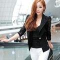 New Vestidos Chic Trendy Women Lapel Long Sleeve Lace Crochet Tops One Button Suit Coat