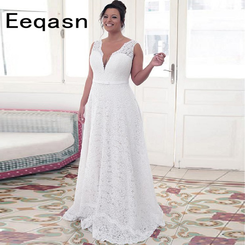 Cheap Online 2019 Lace Plus Size Wedding Dress Long A Line White Back Open Sweep Train Bridal Gowns With Sash Custom