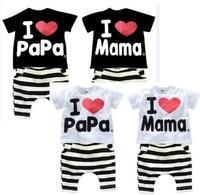 Retail 1set 207 Children Clothing Summer Set Boys Girls I Love Papa And Mama Short Sleeve