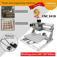 Mini 3 Axis DIY CNC 2418 Router Kit Wood Engraver Milling Machine 5500mW Laser