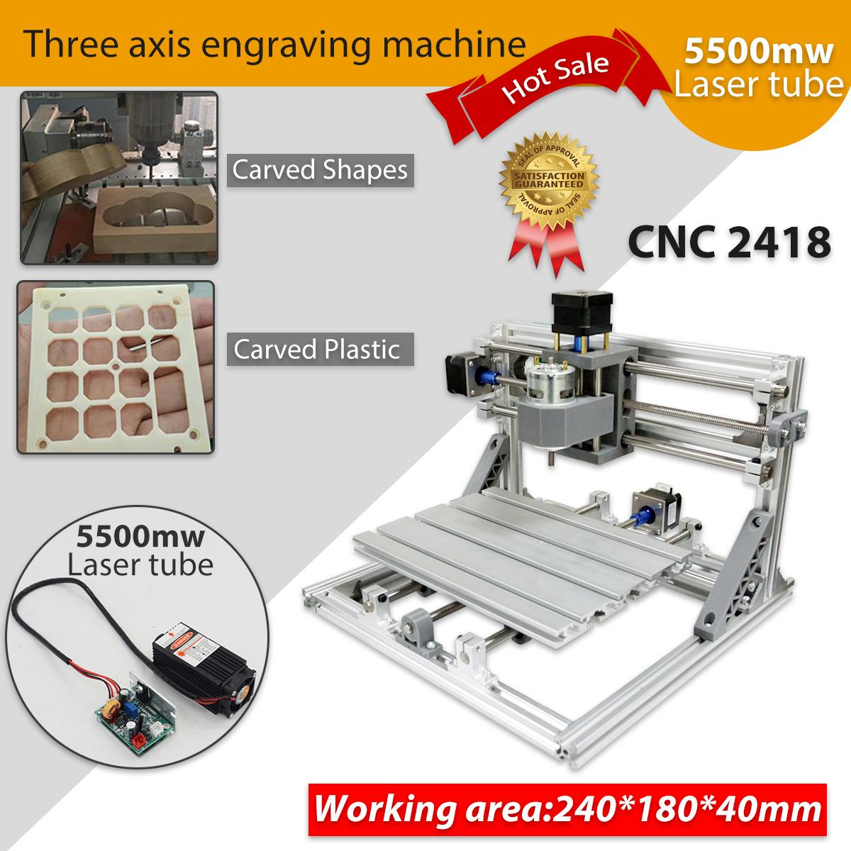 Mini 3 Axis DIY CNC 2418 Router Kit Wood Engraver Milling Machine 5500mW Laser cnc 2030 cnc wood router engraver 4 axis mini cnc milling machine with parallel port
