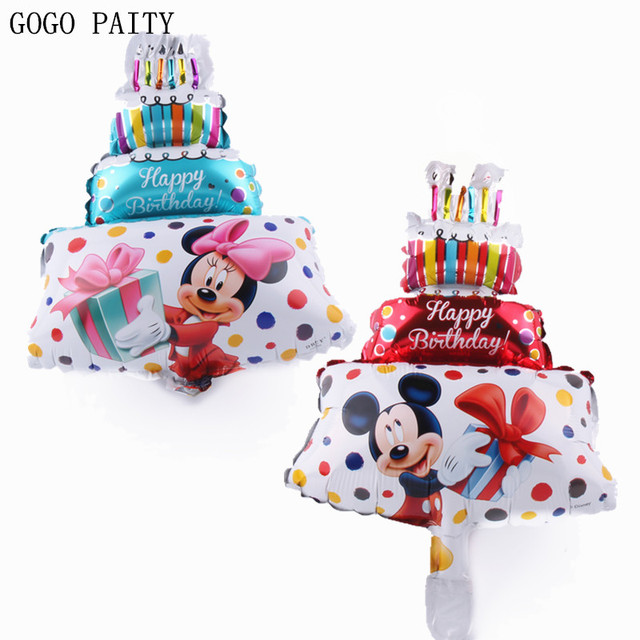 GOGO PAITY Hot Mickey Minnie birthday cake balloon, birthday party decorations