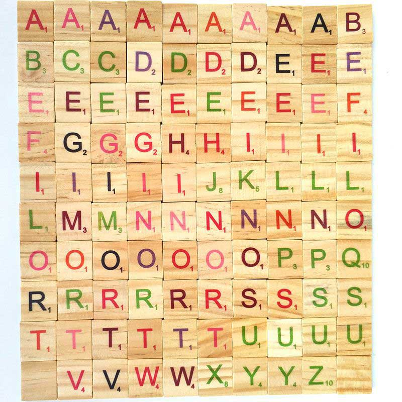100Pcs Wood Scrabble Tiles Colorful Letters Numbers For Crafts Wood Alphabet Toy BM88