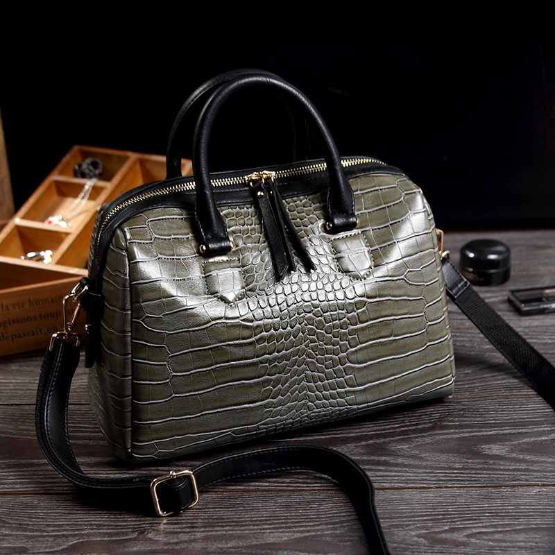 2016 new geniune cowhide crocodile pattern leather Boston font b handbag b font pillow bag portable
