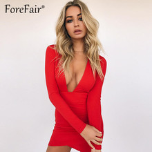 Forefair Backless Mini Party Dresses 2018 Autumn Winter Long Sleeve Women Dresses Black Red Deep V Neck Sexy Club Bodycon Dress
