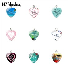 Love Never Fail Bible Verse Quotes Heart Shaped Stainless Steel Plated Charms Hand Craft Glass Dome Heart Pendants Jewelry Gifts(China)