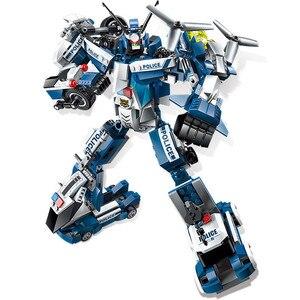 Image 5 - 6 In 1 Stadt Polizei Serie Bausteine Kinder Montage SWAT Aircraft Auto Roboter Spielzeug Block Kompatibel mit Legoed für kinder