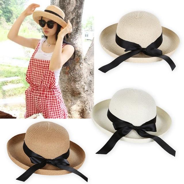 b06933c724b New Summer Women s Sun Hat Black Ribbon Bowknot Decor Flanging Straw Hat  Outdoor panama Beach Caps for women