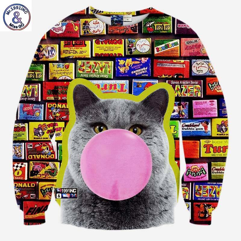 2017 Mr.1991INC Hot model ! Men/women 3d sweatshirts funny print Blowing bubbles cat New animals casual hoodies autumn tops clot