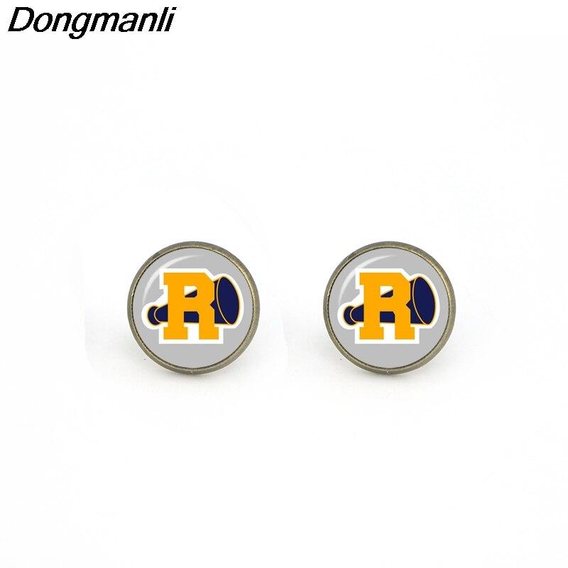 M1104 Dongmanli Riverdale Charm Earring Glass Dome Jewelry Bronze Color Stud Earring Fan Jewelry For Women And Men