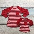 Dia dos namorados mãe & baby meninas coração vermelho tarja família olhar bonito boutique algodão top T-shirt roupas reglans ruffles bolso