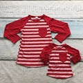 Valentine's Day mother &baby girls red heart stripe family look cute cotton boutique top T-shirt reglans clothing ruffles pocket