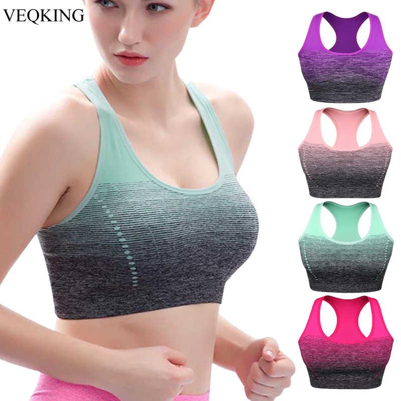 Veqking gradiente de alta estiramento sutiã esportivo para mulher, secagem rápida acolchoado hback esportes topo, yoga sem costura correndo fitness esporte sutiã