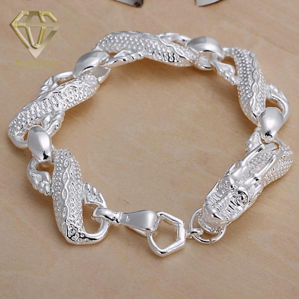 2017 New Style Large White Dragon Bracelet Wholesale Silver Plated