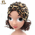New leopard print stretchy turban kids girls cotton hat baby cap