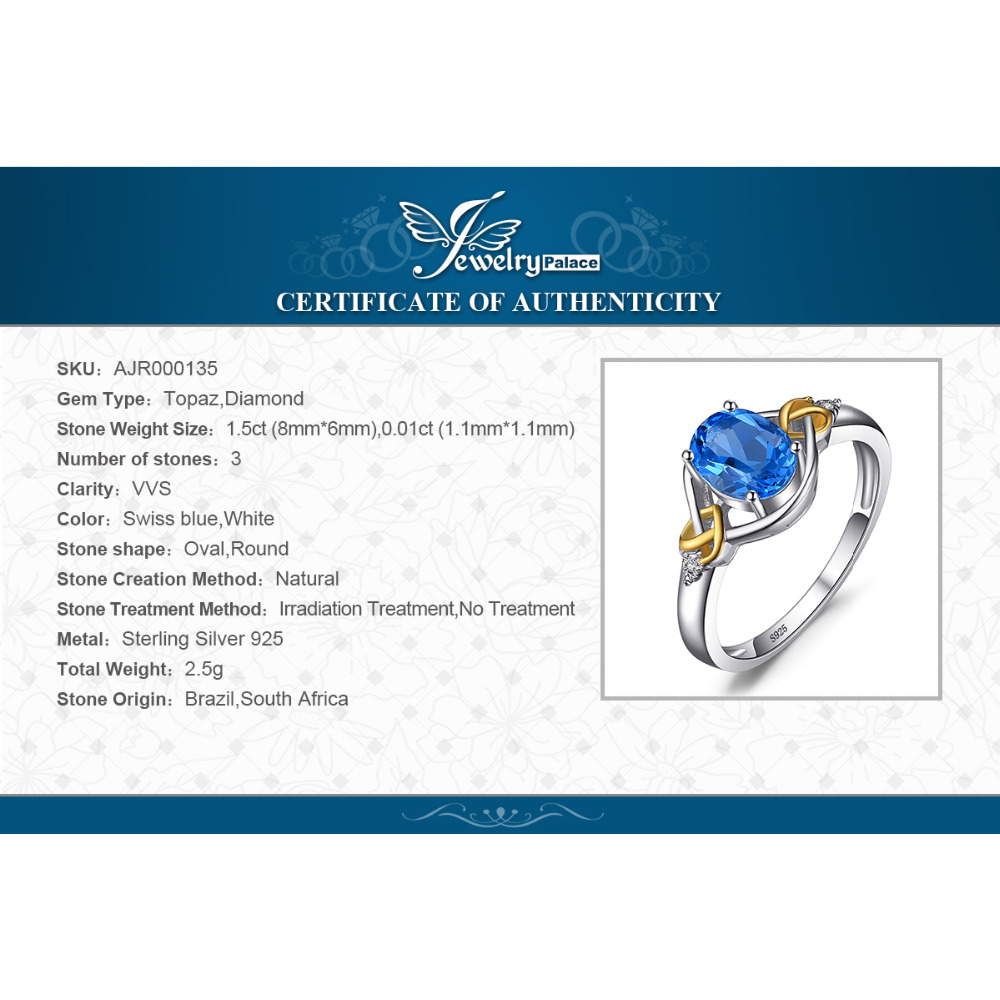 JewelryPalace Love Heart Knot 1.5ct Natural Blue Topaz Real Diamond - Fijne sieraden - Foto 6