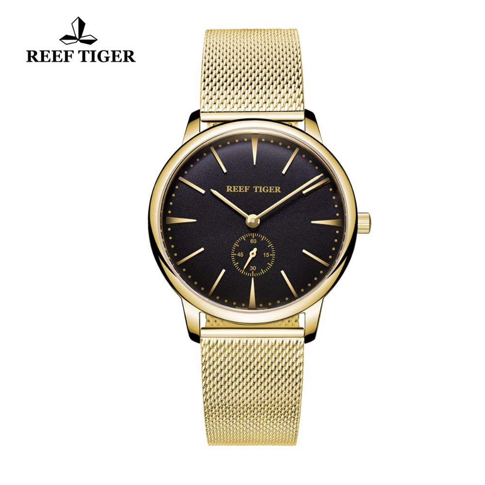 Reef Tiger Fashion Luxury Couple Watches for Men Women Analog Quartz Ultra Thin Watches black Gold Women's casual watches RGA820