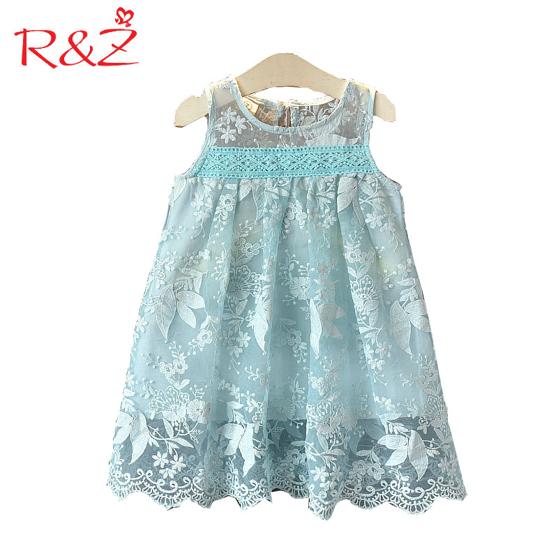 R&Z Baby Girls Clothes 2018 New Summer Cotton Lace Embroidered Flowers O-neck Vest Princess Dresses for Kids Children