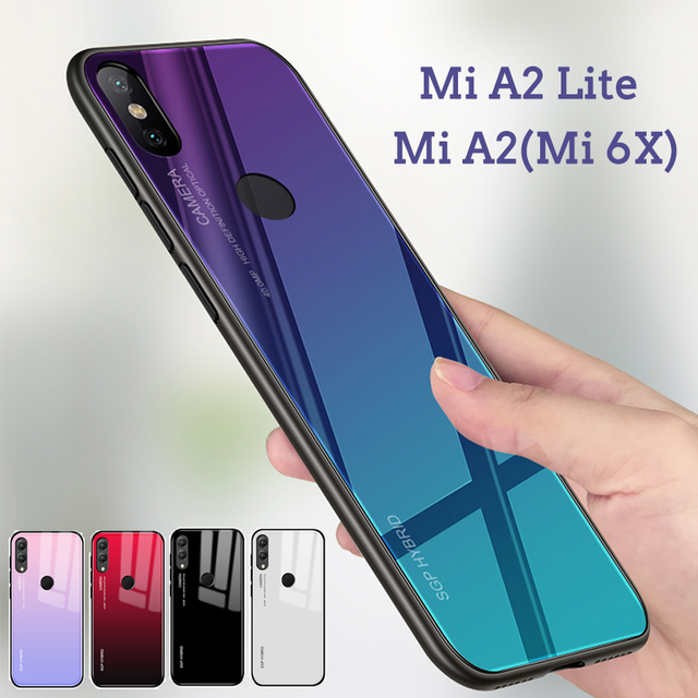 quality design 50c3c cab9f US $2.83 43% OFF|Gradient Phone Case For Xiaomi Mi A2 Lite Tempered Glass  Back Cover Shell For Xiaomi Mi A2 Lite a2lite mia2 mia2lite xiomi Coque-in  ...