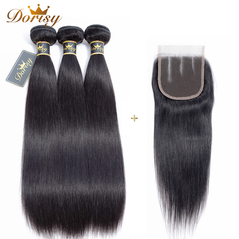 Brazilian Human Hair Bundles With Lace Closure 3Bundles Straight Hair Weave Bundles With Closure No Tangle