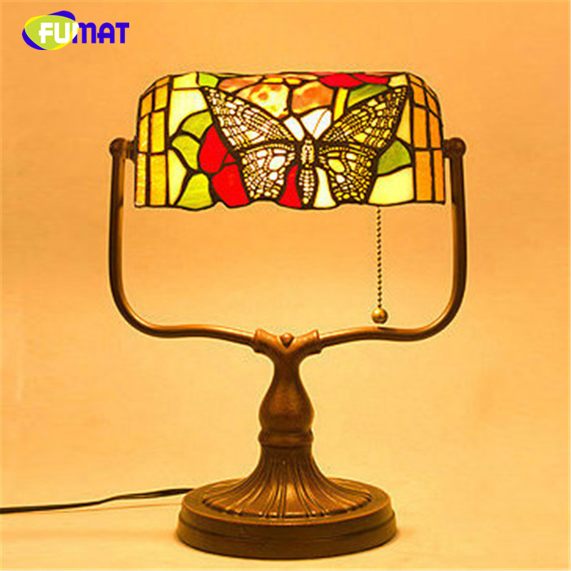 FUMAT Glass Table Lamp Creative Decorative Bedside Lamp Butterfly Stained  Glass Shade Hotel Bar Living Room Bedside Table Lights