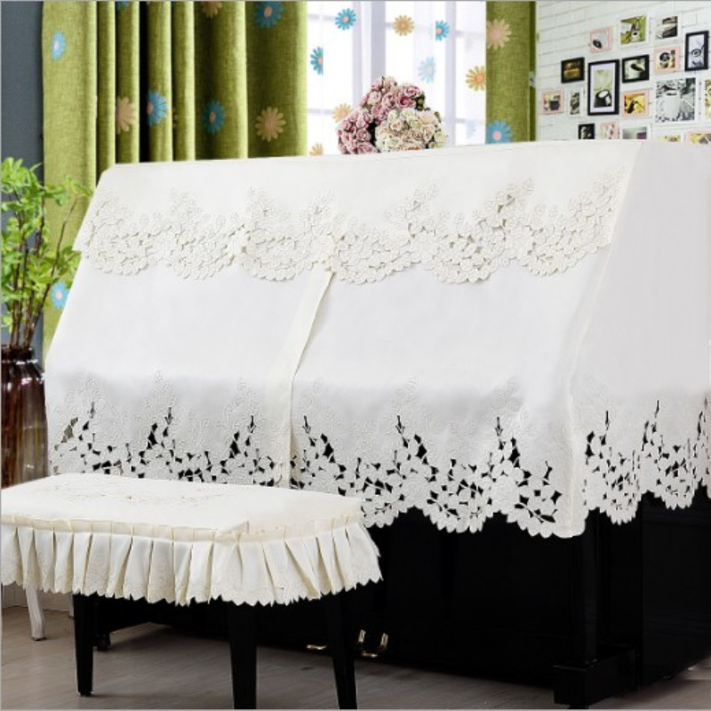 European piano dust cover Hand embroidered piano cover towel Beige piano stool cover