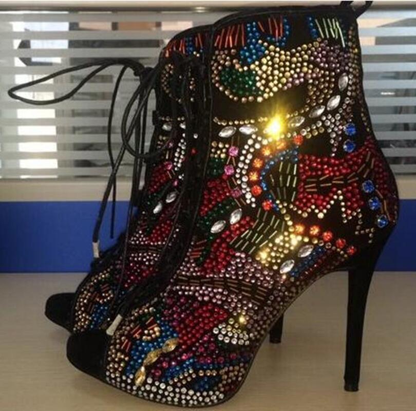 Emma King Стразы, дизайнерские туфли на высоком каблуке; Летние босоножки; Для женщин С кристалалми и стразами женские туфли лодочки передний открытый с перекрестными ремешками, на высоком каблуке - 6