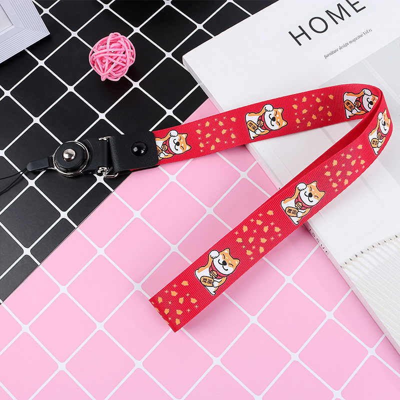 Cute Cartoon Lucky Dog Pattern Neck Strap Lanyards for Keys ID Card Mobile Phone Strap Hang Rope Phone Charm Badge Holder