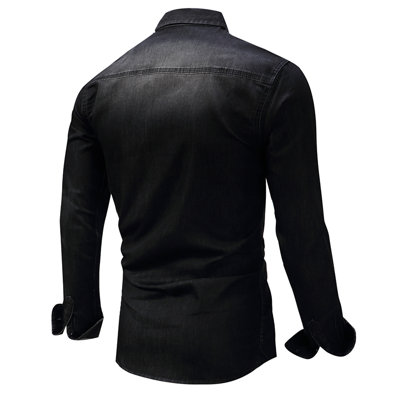 ABOORUN High Quality Mens Denim Shirts Snowflake Washed Jeans Shirts Long Sleeve Cotton Shirts for Male x564