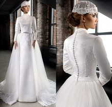 Detachable Skirt Vintage Long Sleeve Wedding Dresses Designers Lebanon High Neck Appliques islamic Wedding Gowns brautkleid 2016