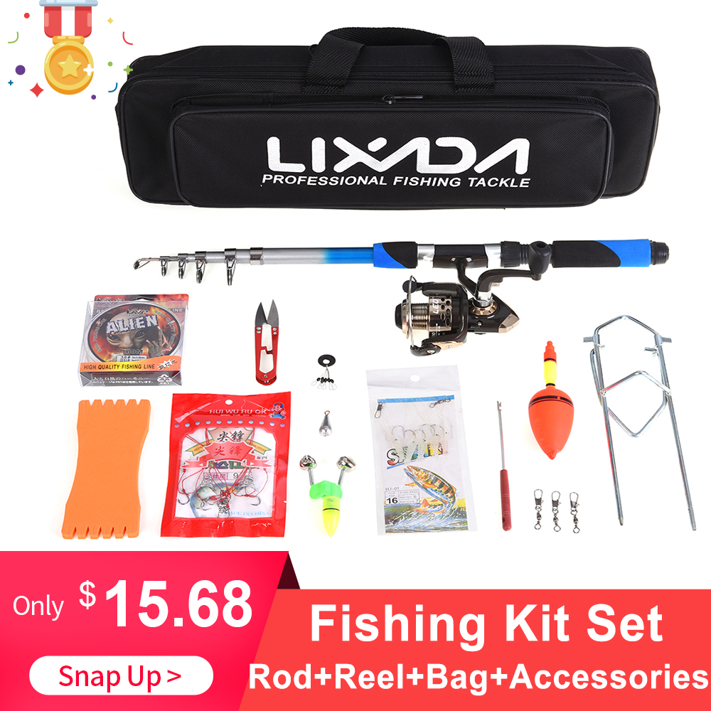 Lixada Telescopic Fishing Rod Combo 2.1m Fiberglass Rod 5.2:1 Spinning Fishing Reel Bait Hook Nylon Fishing Bag Fishing Kit Set(China)