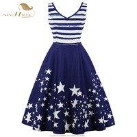 SISHION Star Print Striped Dark Blue Dress Summer Double V Neck Plus Size Women Clothing Swing Retro Vintage Dresses VD0730