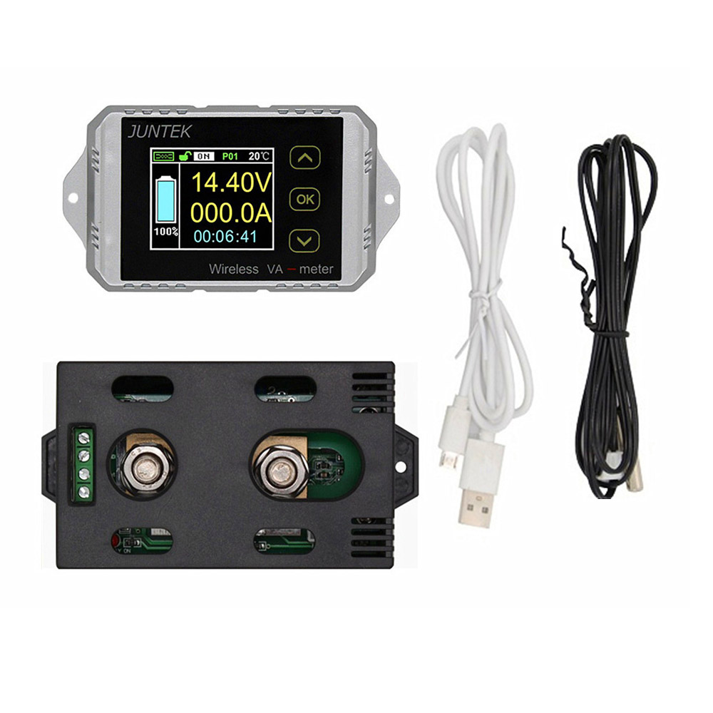 100% Original JUNTEK Wireless Digital Display Voltmeter Ammeter Multifunction LED Measure Bi directional Volt Ammeter
