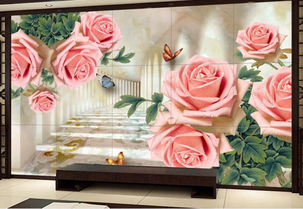 Rose flower rattan Mural Wallpaper Custom papel de parede Wallpaper For Walls 3 d Living room Bedroom Home Decor 63 rose de mai